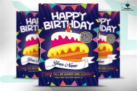 kids happy birthday flyer psd flyer templates on