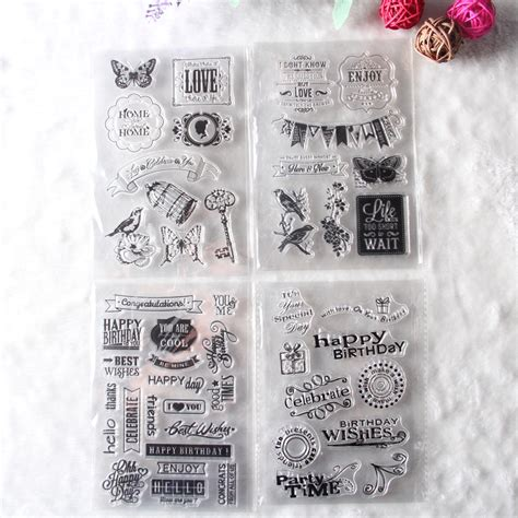cheap rubber sts for scrapbooking 1 sheet diy floral happy birthday transparent clear rubber