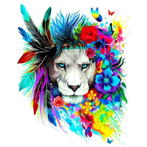 colorful lion tattoo colorful flowers design
