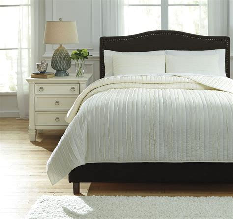 ivory king coverlet solsta ivory king coverlet set from ashley q737013k
