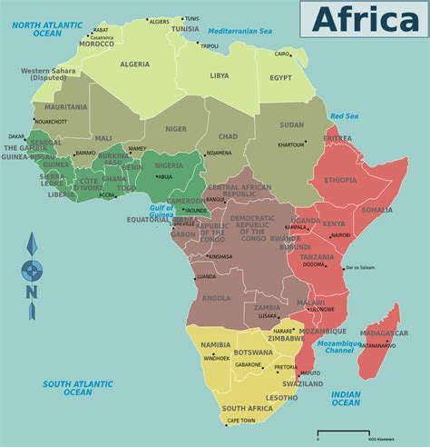 africa map countries  capitals map  africa