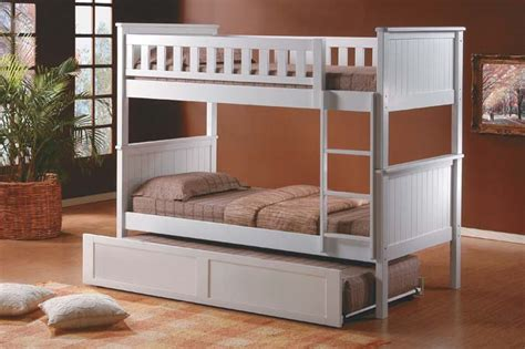 Solid Wood Bunk Bed With Trundle Pottery White Bunk Bed Solid Wood Trundle