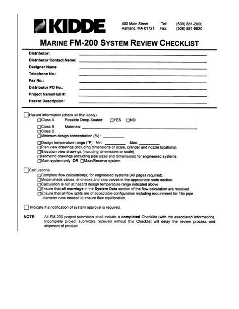 Marine FM  200 System Review Checklist