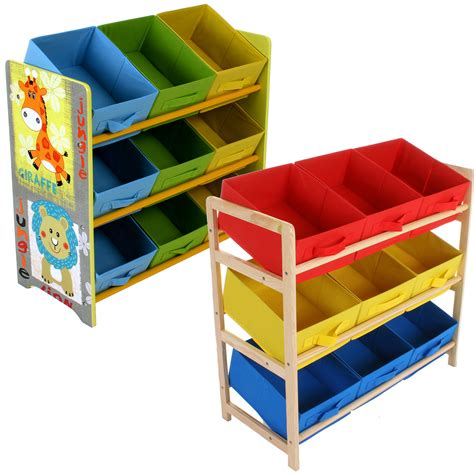 kids storage childrens toy storage unit kids shelf 3 tier 9 canvas