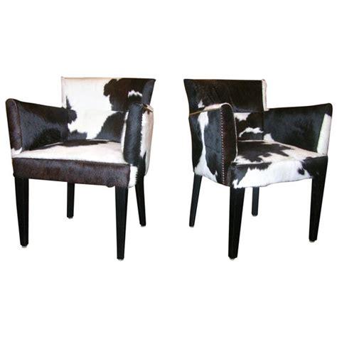 Black And White Cowhide Chair - pair of custom black and white spotted cowhide deco chairs