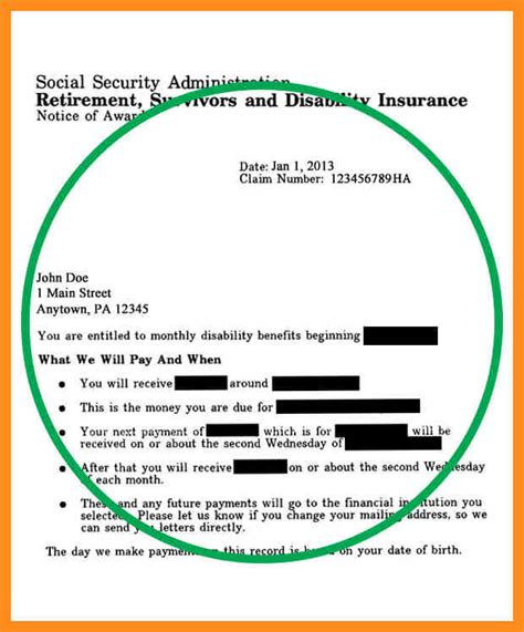 Benefit Verification Letter Template Business Social Security Award Letter Template