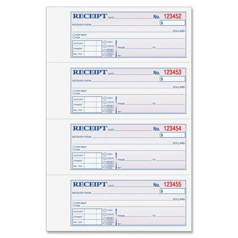 adams money rent receipt book ld products