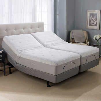 novaform  serafina split king gel memory foam adjustable mattress    bed