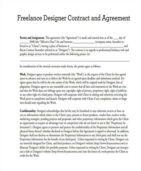 freelance employment contract template 15 freelance contract templates free documents in word