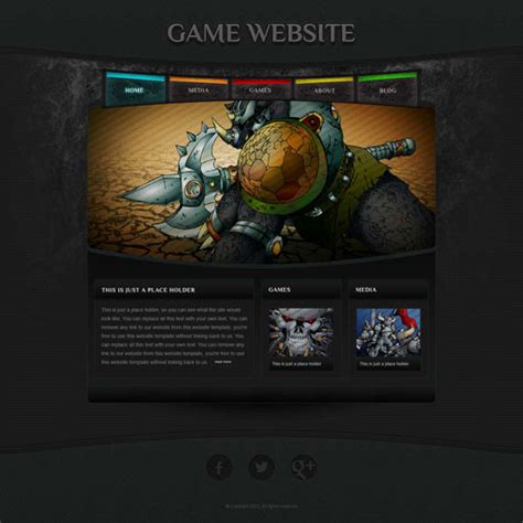 game website template with original illustrations free
