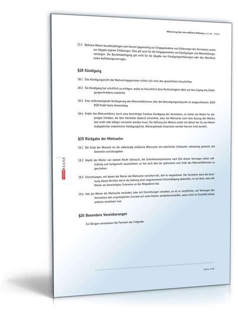 mietvertrag wohnung mietvertrag m 246 blierte wohnung muster zum