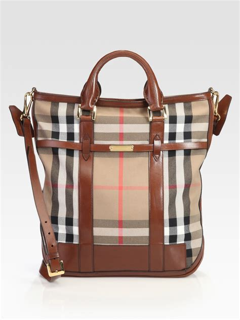 Burberry Check Canvas Tote by Burberry Check Canvas And Leather Tote Bag In Brown