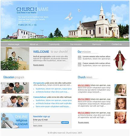 Free Church Website Templates Learnhowtoloseweight Net Free Christian Website Templates