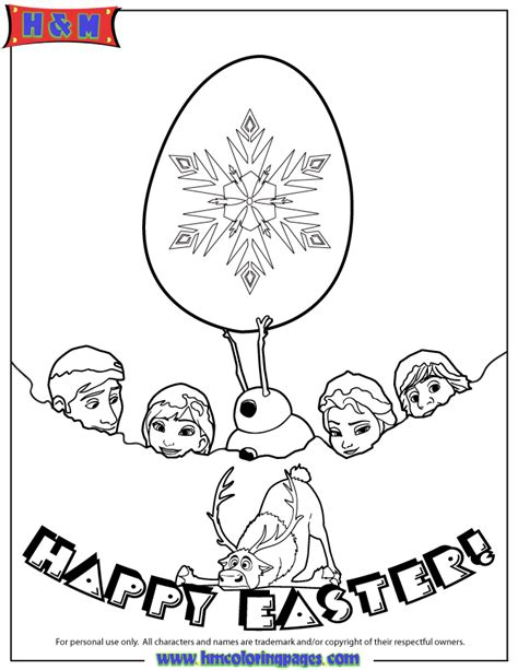 frozen characters happy easter coloring page h m