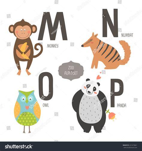 cute zoo alphabet cartoon animals isolated stock