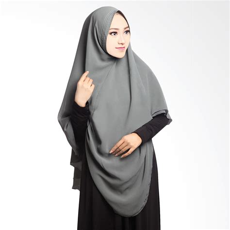 Syar I Grey jual cotton bee khimar draperry syar i grey