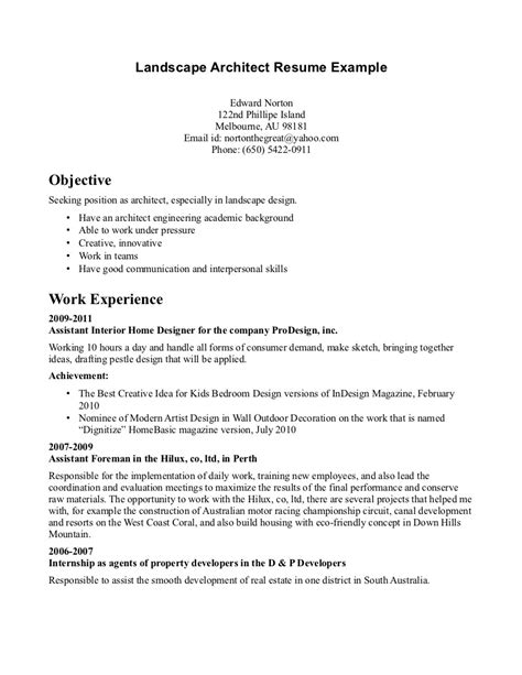 Resume Sles For Landscaping Resume Template Landscaping Exles With 28 Images
