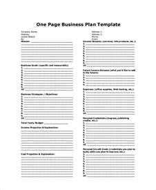 one page business plan template pdf sle business plan 8 exles in word pdf