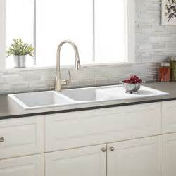 Kitchen With Stainless Steel Backsplash 46 quot tansi double bowl drop in sink with drain board