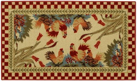 kitchen rooster rug rooster checkered non slip non skid kitchen mat rubber back rug 18 quot x 31 quot cuc5 ebay