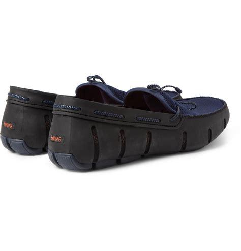 swims rubber and mesh boat shoes swims rubber and mesh boat shoes in black for men lyst