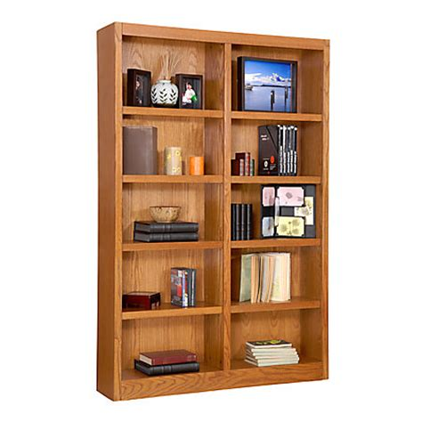 concepts in wood wide bookcase 10 shelves oak