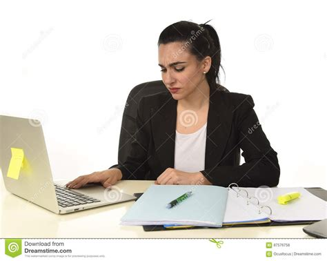 Sad Desk L by Attractive In Business Suit Working Tired And Bored