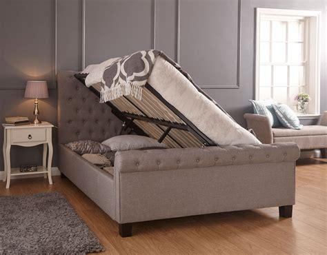 ottoman storage beds lyla silver hopsack ottoman storage bed frame