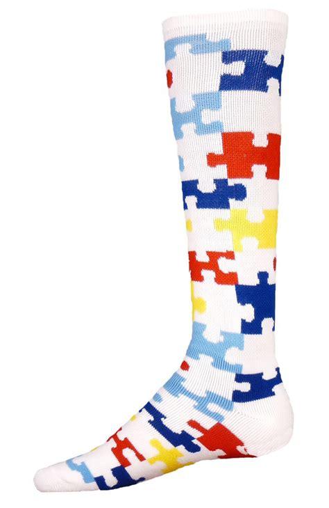 socks pattern crossword knee high autism awareness puzzle socks for sports