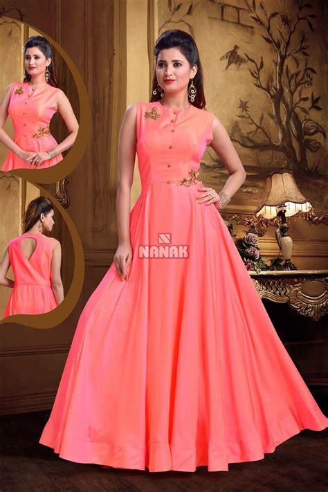 rani pink colour rani pink color floor length anarkali suit for women