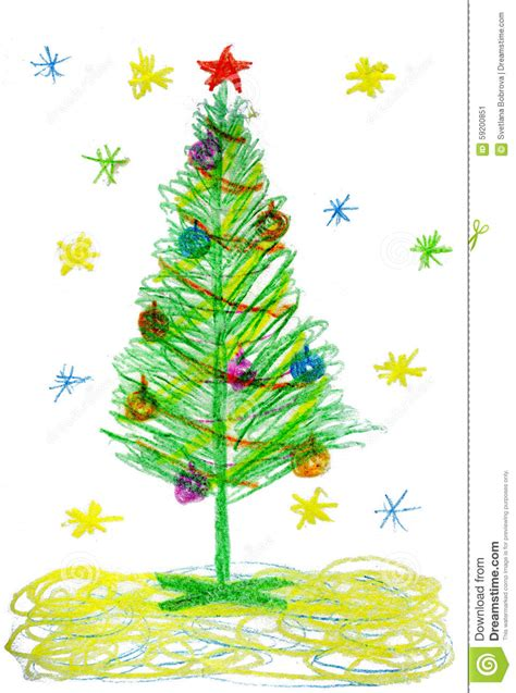 children drawing christmas tree stock illustration image