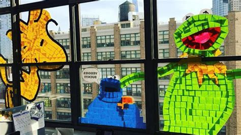post it bureau windows epic post it war plasters nyc office windows with