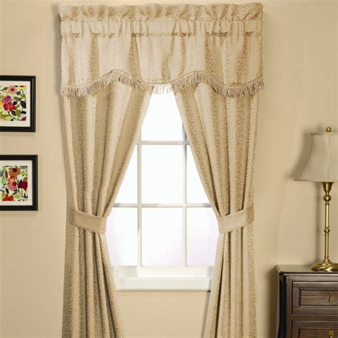 sears curtains and window treatments essential home classic scroll 5 piece window set natural