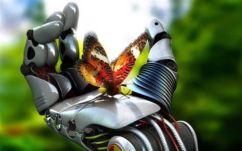 Robots de la mariposa manos arte digital fondos de