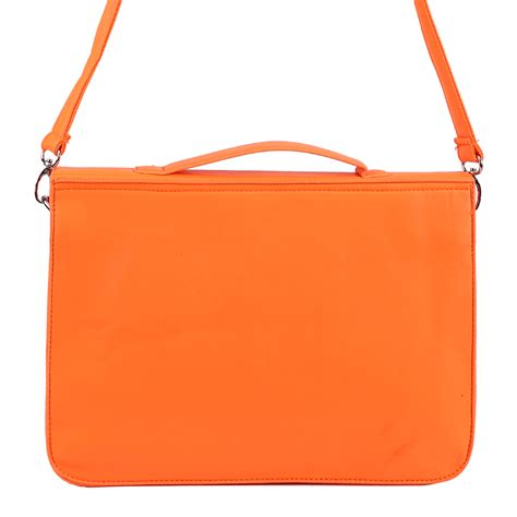 bright orange retro large briefcase work bag school