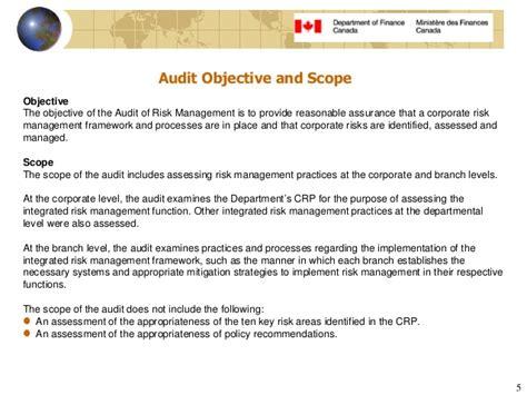 5 Audit Objectives by Audit Of Risk Management Report