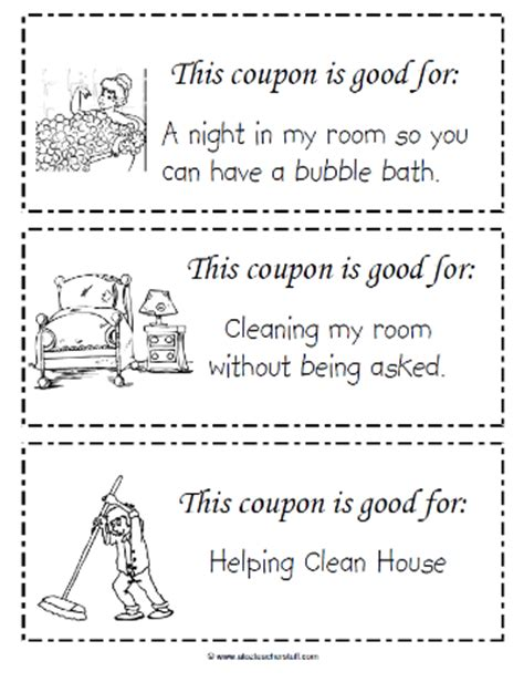 templates for coupon books this free printable coupon book for kids to give to mom on