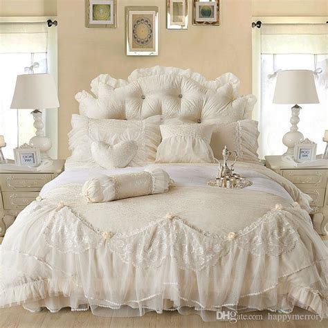 Sprei Bed Cover Home Silk Hs42 light white jacquard silk princess bedding set silk lace ruffles duvet cover bedspread bed skirt