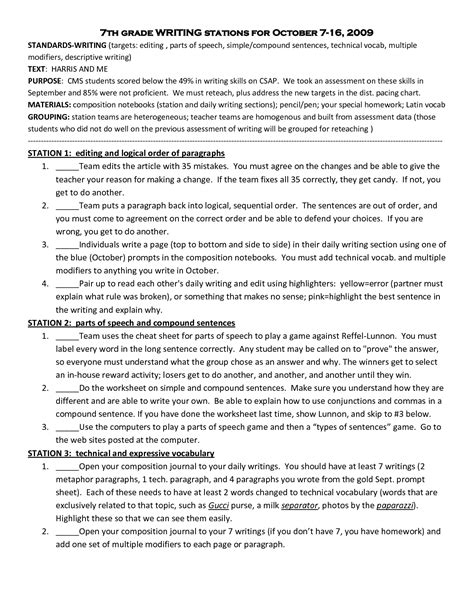 printable writing worksheets 7th grade 13 best images of free language arts worksheets 6th 7th