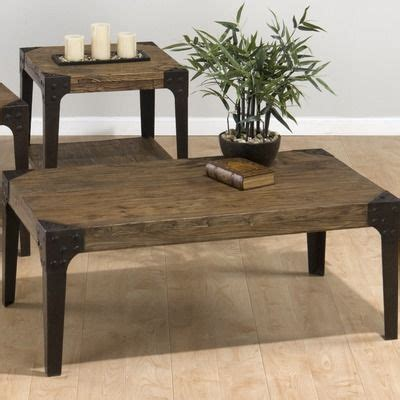 jofran timber coffee table set  distressed elm coffee