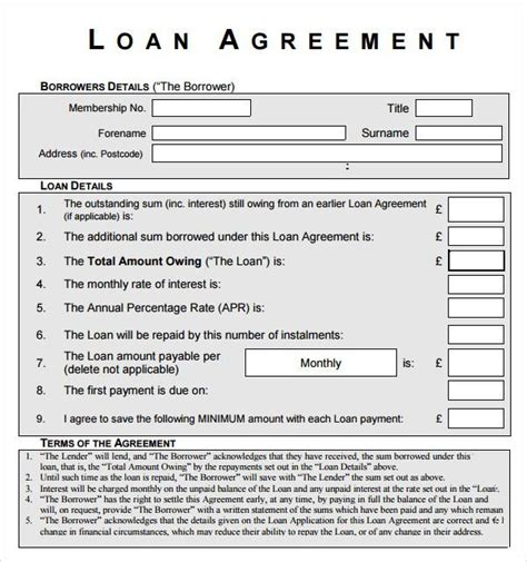 loan contract template download free premium templates