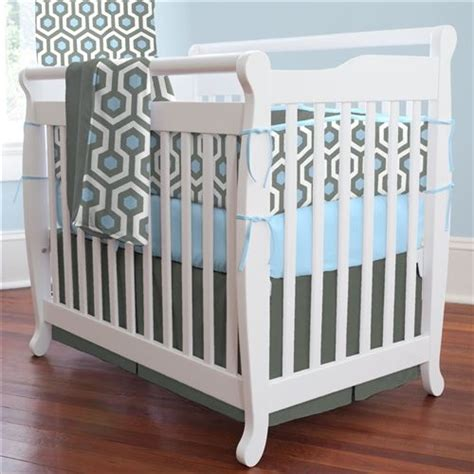 Mini Portable Crib Bedding Lake Blue And Slate Honeycomb Portable Crib Skirt Box Pleat Carouseldesigns Baby Boy