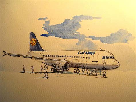 painting airplane lufthansa plane painting by juan bosco