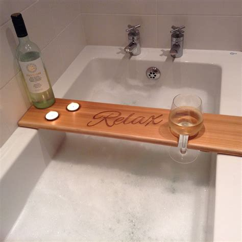 wood bathtub caddy personalised wooden bath caddy