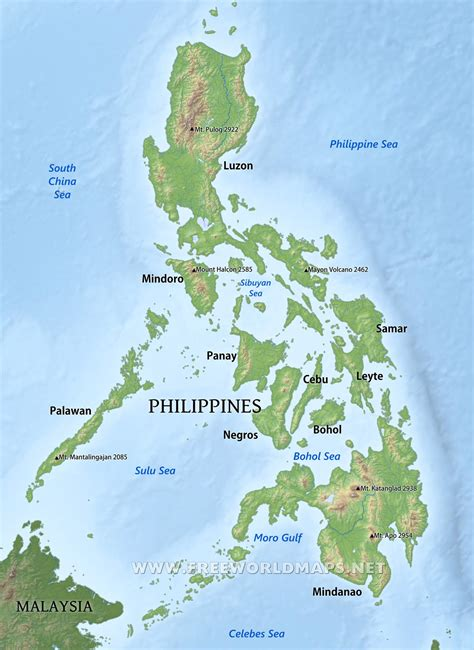 physical map of philippines philippines map