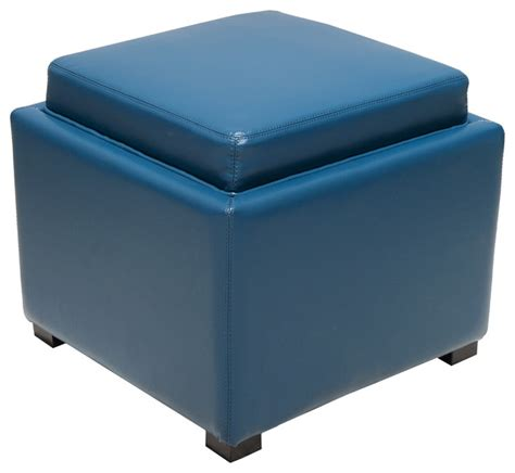 Bray Square Storage Ottoman Blue Footstools And Storage Ottoman Blue