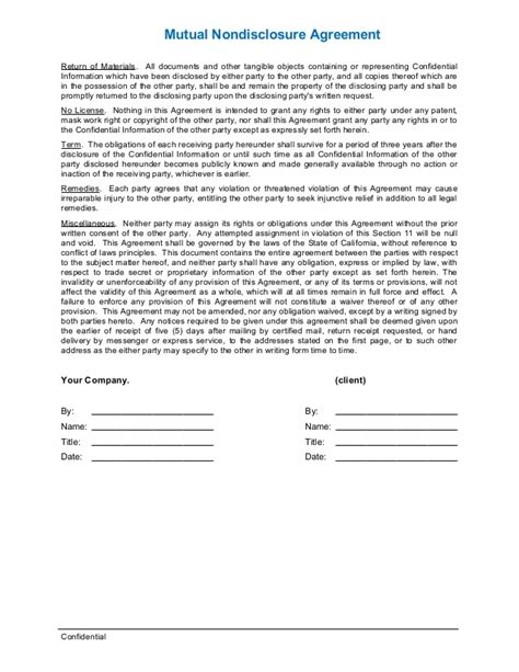 nda template nda or non disclosure agreement template for business
