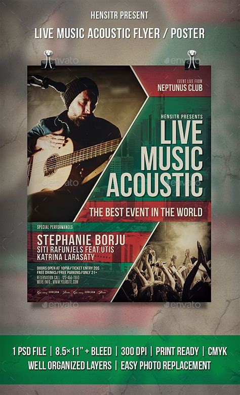 free templates for music flyers live music acoustic flyer poster acoustic template