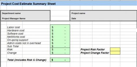 cost estimate template download three point cost estimating