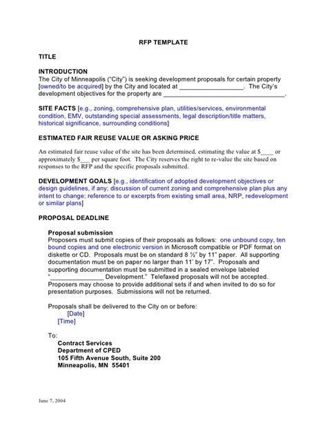 rfp reply template rfp template development doc doc
